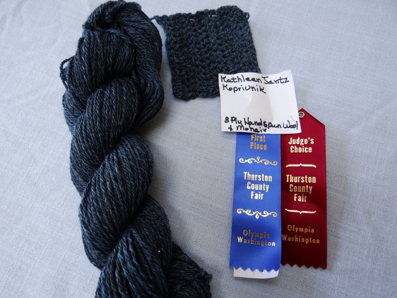 Kate J-K.  Hand-spun wool-mohair blend, with sample, Blue Ribbon, Judge's Choice Ribbon