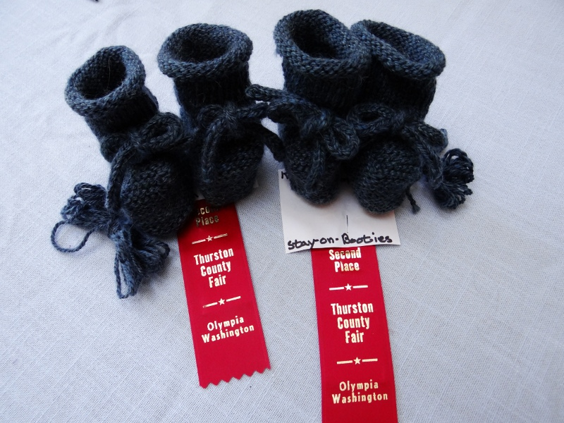 """Kate J-K. """"Three-ply blend of wool and mohair.  Both pair were knit from the """"samplings"""" of the wool/mohair """"bump"""" that I bought [last spring at OWG]."""