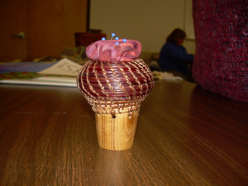 Pine needle and turned wood pincushion