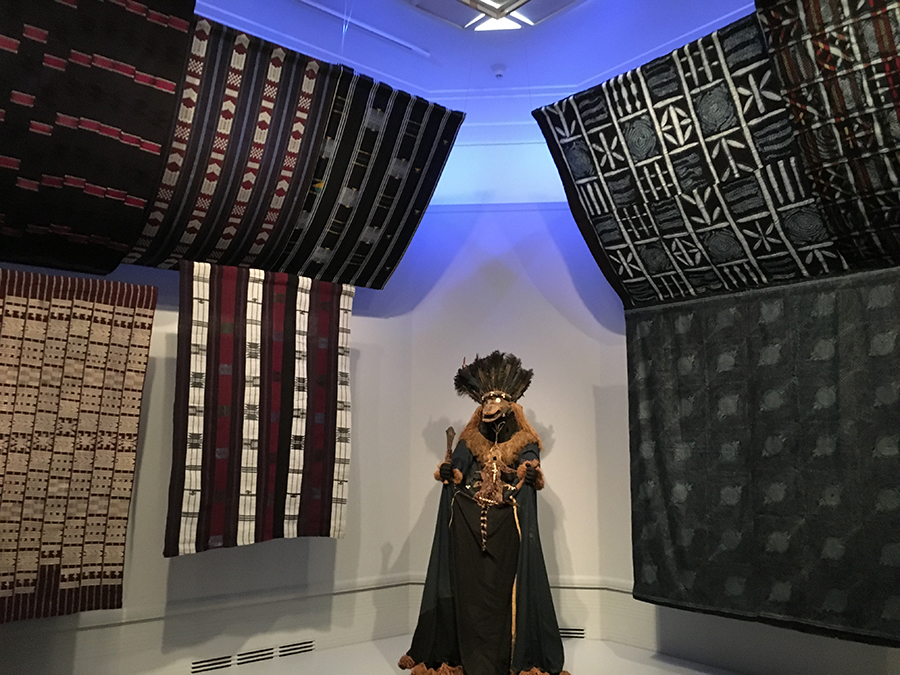 "Indigo dyed Yoruba cloth & ritual costume. Part of the Seattle Asian Art Museum exhibit, ""Mood Indigo: Textiles From Around the World"""