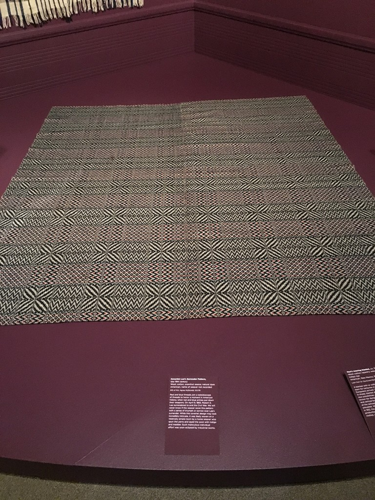 "19th century American woven coverlet in Lee's Surrender pattern. Part of the Seattle Asian Art Museum exhibit, ""Mood Indigo: Textiles From Around the World"""